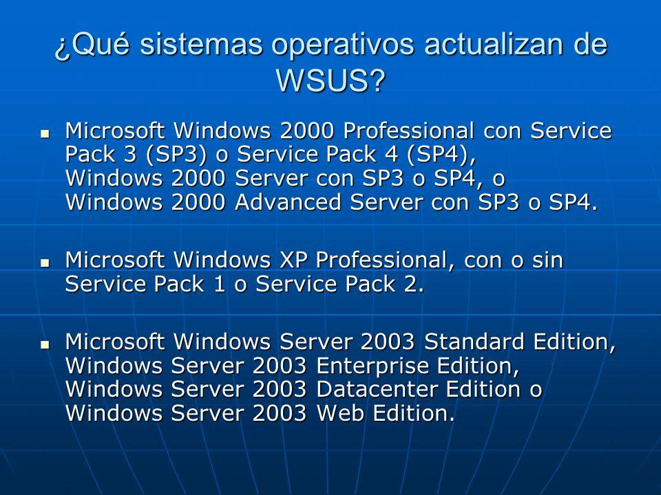 ¿Qué sistemas operativos actualizan de WSUS? Microsoft Windows 2000 Professional con Service Pack 3 (SP3) o Service Pack 4 (SP4), Windows 2000 Server