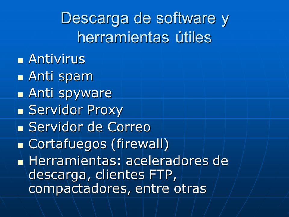 Descarga de software y herramientas útiles Antivirus Antivirus Anti spam Anti spam Anti spyware Anti spyware Servidor Proxy Servidor Proxy Servidor de