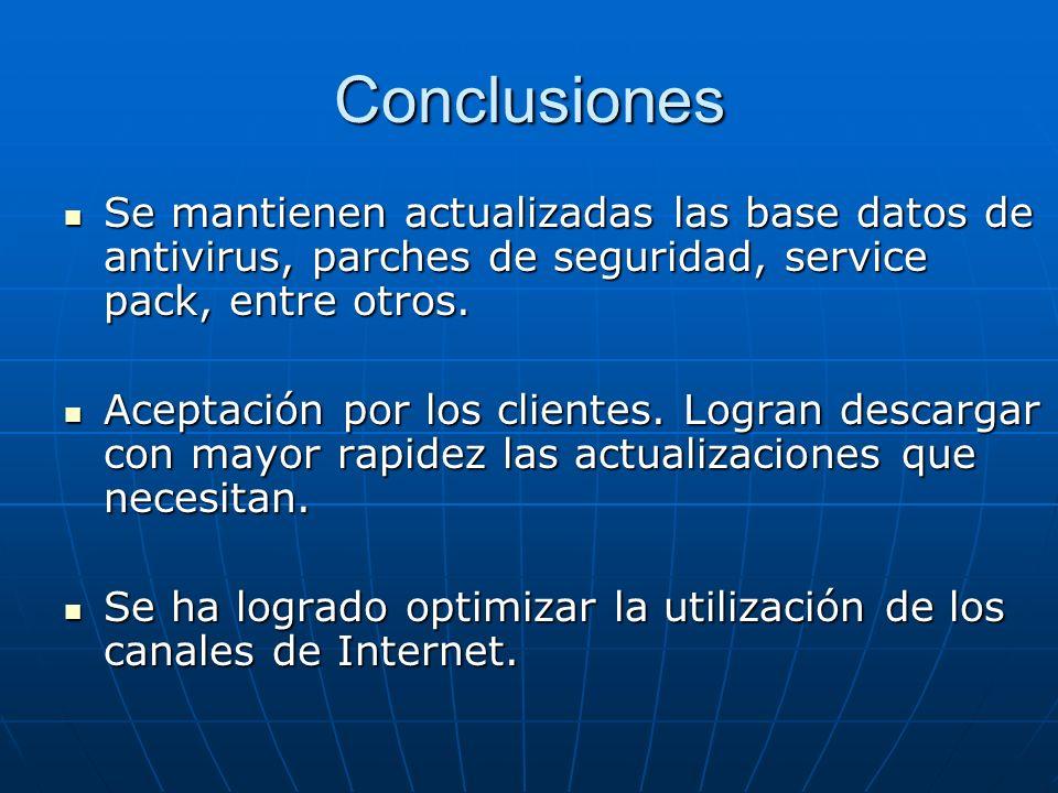 Conclusiones Se mantienen actualizadas las base datos de antivirus, parches de seguridad, service pack, entre otros. Se mantienen actualizadas las bas