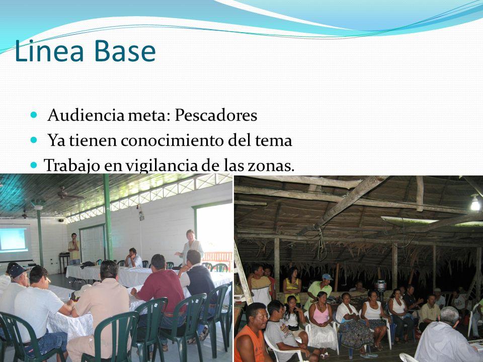 Linea Base Audiencia meta: Pescadores Ya tienen conocimiento del tema Trabajo en vigilancia de las zonas.
