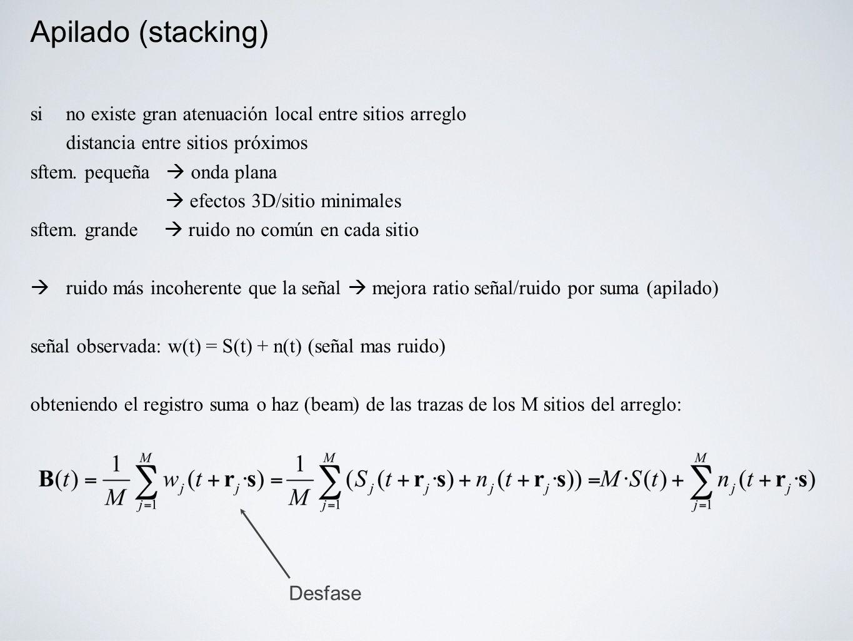 Apilado (stacking) si no existe gran atenuación local entre sitios arreglo distancia entre sitios próximos sftem.