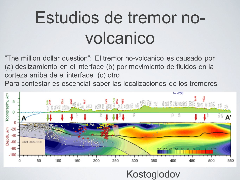 Estudios de tremor no- volcanico T The million dollar question: El tremor no-volcanico es causado por (a) deslizamiento en el interface (b) por movimiento de fluidos en la corteza arriba de el interface (c) otro Para contestar es escencial saber las localizaciones de los tremores.