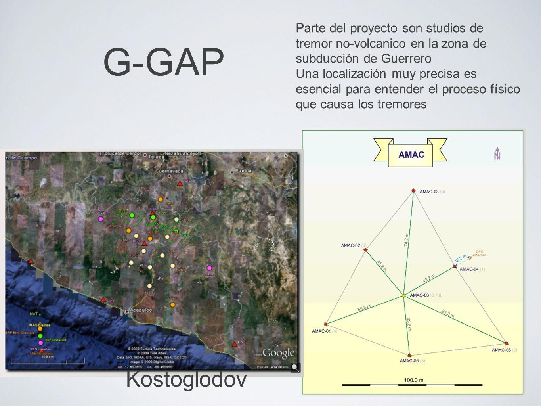 G-GAP Parte del proyecto son studios de tremor no-volcanico en la zona de subducción de Guerrero Una localización muy precisa es esencial para entender el proceso físico que causa los tremores Kostoglodov
