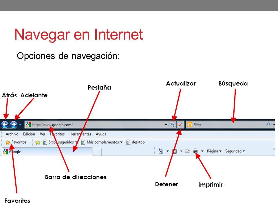 Navegar en Internet Opciones de navegación: Actualizar Búsqueda Favoritos Imprimir Barra de direcciones Detener Atrás Adelante Pestaña