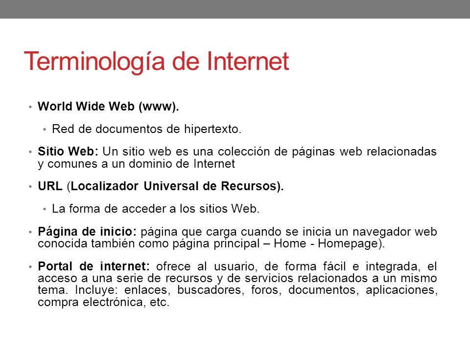 Terminología de Internet World Wide Web (www). Red de documentos de hipertexto. Sitio Web: Un sitio web es una colección de páginas web relacionadas y