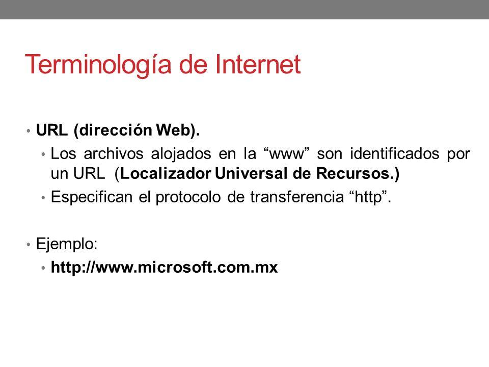 Terminología de Internet URL (dirección Web). Los archivos alojados en la www son identificados por un URL (Localizador Universal de Recursos.) Especi