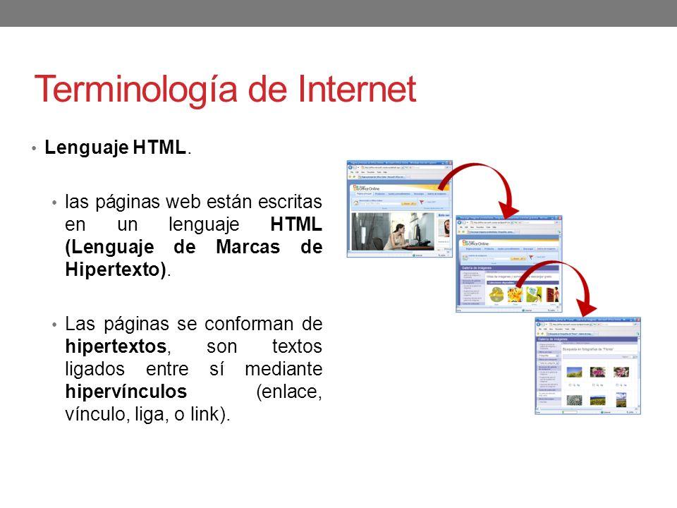 Terminología de Internet Lenguaje HTML. las páginas web están escritas en un lenguaje HTML (Lenguaje de Marcas de Hipertexto). Las páginas se conforma