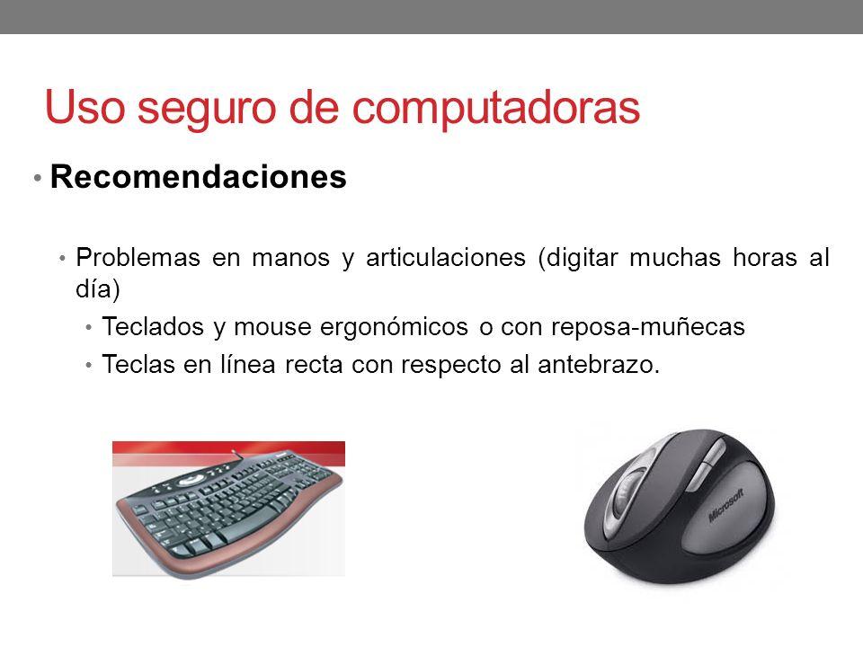 Uso seguro de computadoras Recomendaciones Problemas en manos y articulaciones (digitar muchas horas al día) Teclados y mouse ergonómicos o con reposa