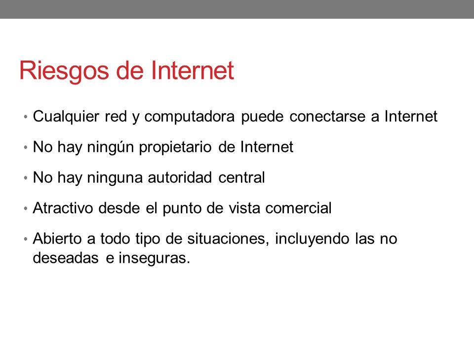 Riesgos de Internet Cualquier red y computadora puede conectarse a Internet No hay ningún propietario de Internet No hay ninguna autoridad central Atr