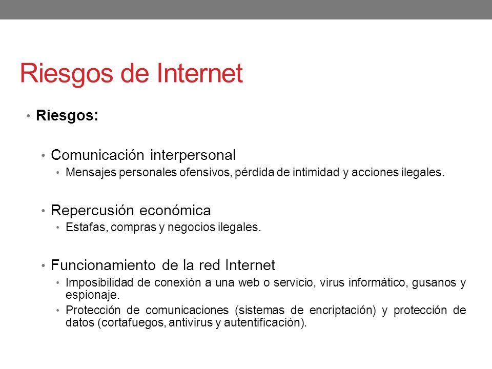 Riesgos de Internet Riesgos: Comunicación interpersonal Mensajes personales ofensivos, pérdida de intimidad y acciones ilegales. Repercusión económica