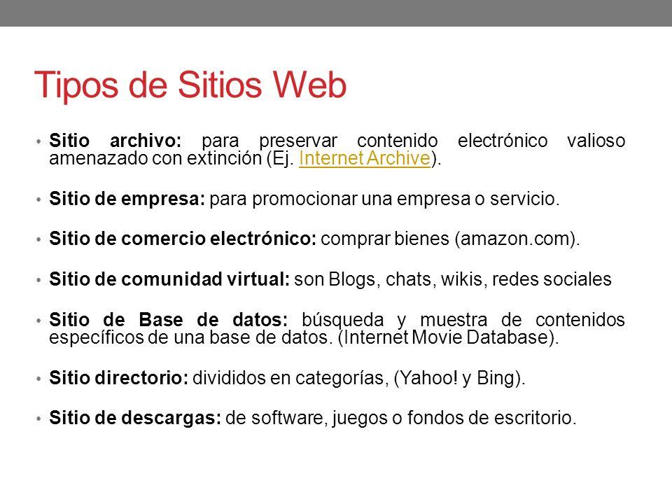 Tipos de Sitios Web Sitio archivo: para preservar contenido electrónico valioso amenazado con extinción (Ej. Internet Archive).Internet Archive Sitio