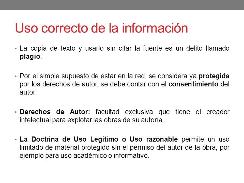 Uso correcto de la información La copia de texto y usarlo sin citar la fuente es un delito llamado plagio. Por el simple supuesto de estar en la red,