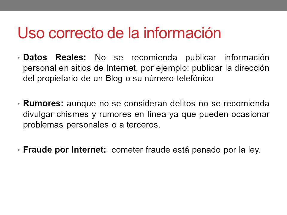 Uso correcto de la información Datos Reales: No se recomienda publicar información personal en sitios de Internet, por ejemplo: publicar la dirección