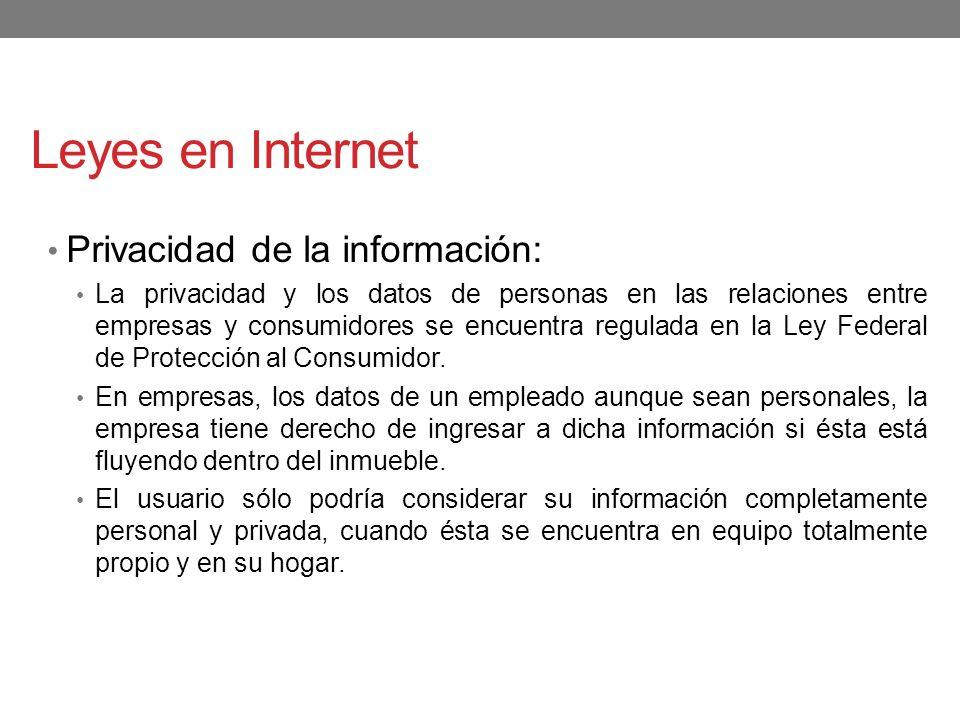 Leyes en Internet Privacidad de la información: La privacidad y los datos de personas en las relaciones entre empresas y consumidores se encuentra reg