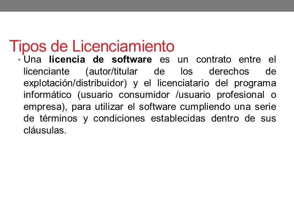 Tipos de Licenciamiento Una licencia de software es un contrato entre el licenciante (autor/titular de los derechos de explotación/distribuidor) y el