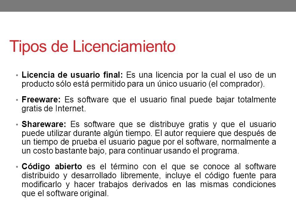 Tipos de Licenciamiento Licencia de usuario final: Es una licencia por la cual el uso de un producto sólo está permitido para un único usuario (el com