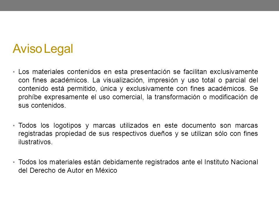 Aviso Legal Los materiales contenidos en esta presentación se facilitan exclusivamente con fines académicos. La visualización, impresión y uso total o