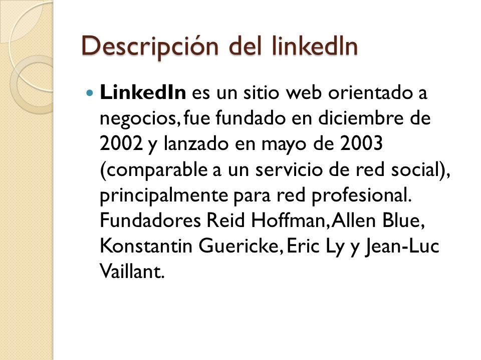 Descripción del linkedln LinkedIn es un sitio web orientado a negocios, fue fundado en diciembre de 2002 y lanzado en mayo de 2003 (comparable a un se