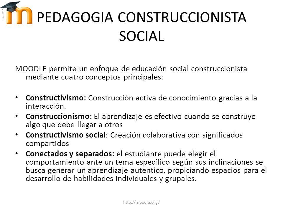 PEDAGOGIA CONSTRUCCIONISTA SOCIAL MOODLE permite un enfoque de educación social construccionista mediante cuatro conceptos principales: Constructivism