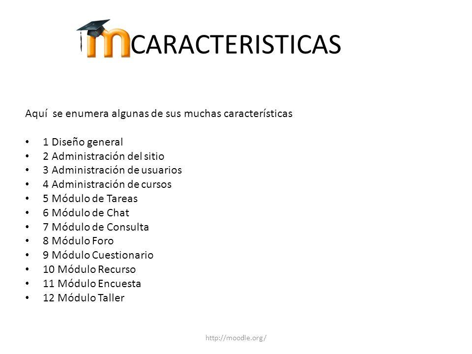 CARACTERISTICAS Aquí se enumera algunas de sus muchas características 1 Diseño general 2 Administración del sitio 3 Administración de usuarios 4 Admin