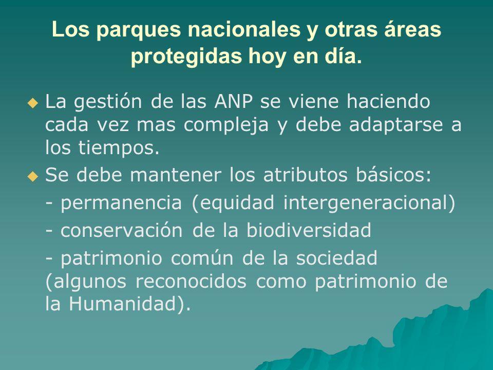 Los parques nacionales y otras áreas protegidas hoy en día. La gestión de las ANP se viene haciendo cada vez mas compleja y debe adaptarse a los tiemp