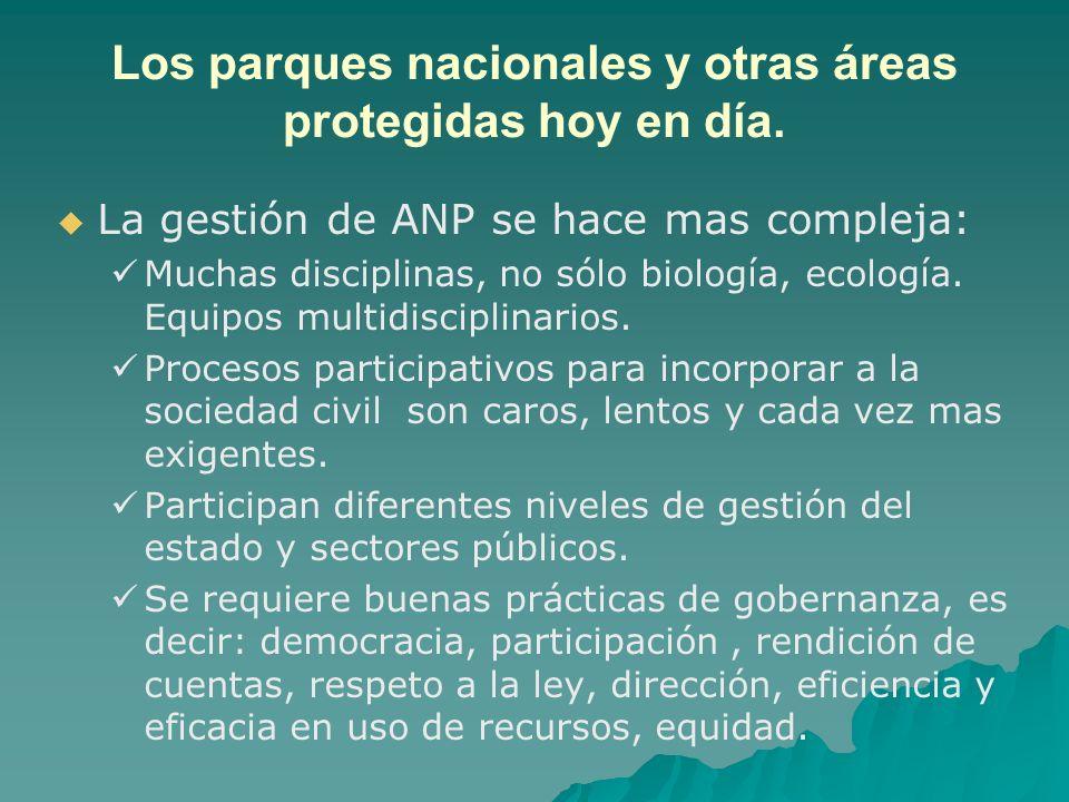 Los parques nacionales y otras áreas protegidas hoy en día. La gestión de ANP se hace mas compleja: Muchas disciplinas, no sólo biología, ecología. Eq
