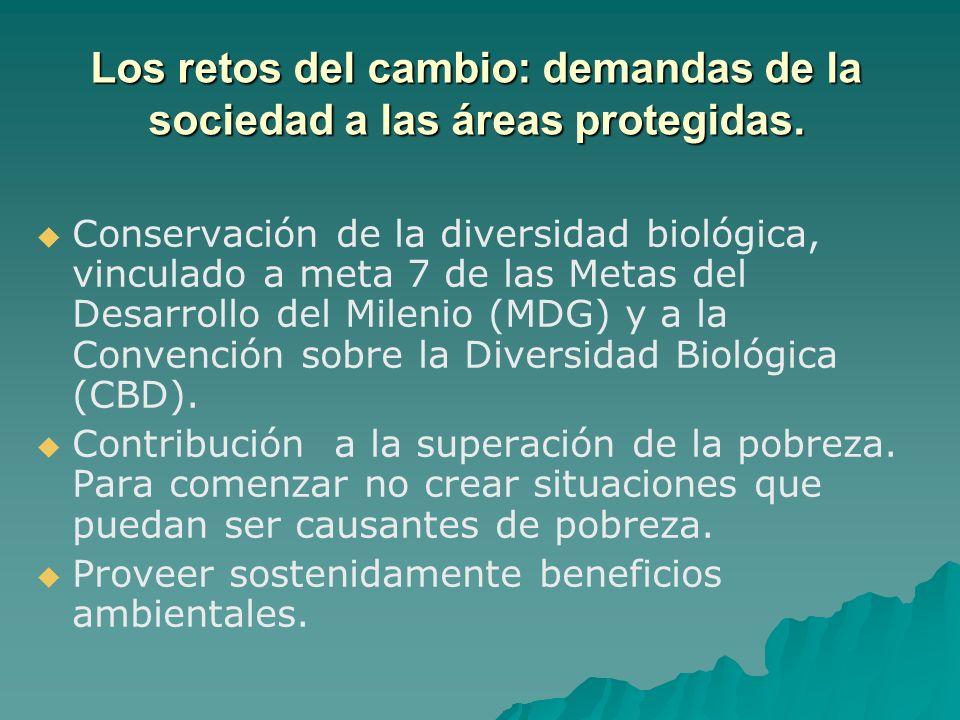 Conservación de la diversidad biológica, vinculado a meta 7 de las Metas del Desarrollo del Milenio (MDG) y a la Convención sobre la Diversidad Biológ