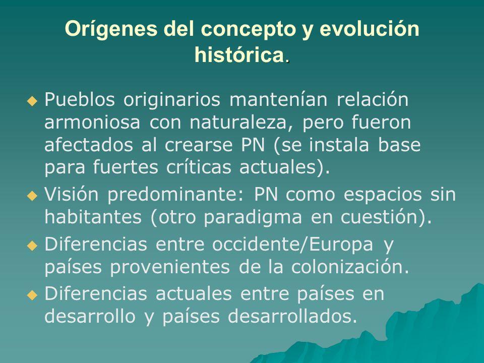 . Orígenes del concepto y evolución histórica. Pueblos originarios mantenían relación armoniosa con naturaleza, pero fueron afectados al crearse PN (s