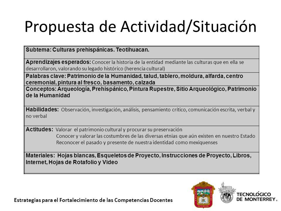 Estrategias para el Fortalecimiento de las Competencias Docentes Propuesta de Actividad/Situación Subtema: Culturas prehispánicas. Teotihuacan. Aprend