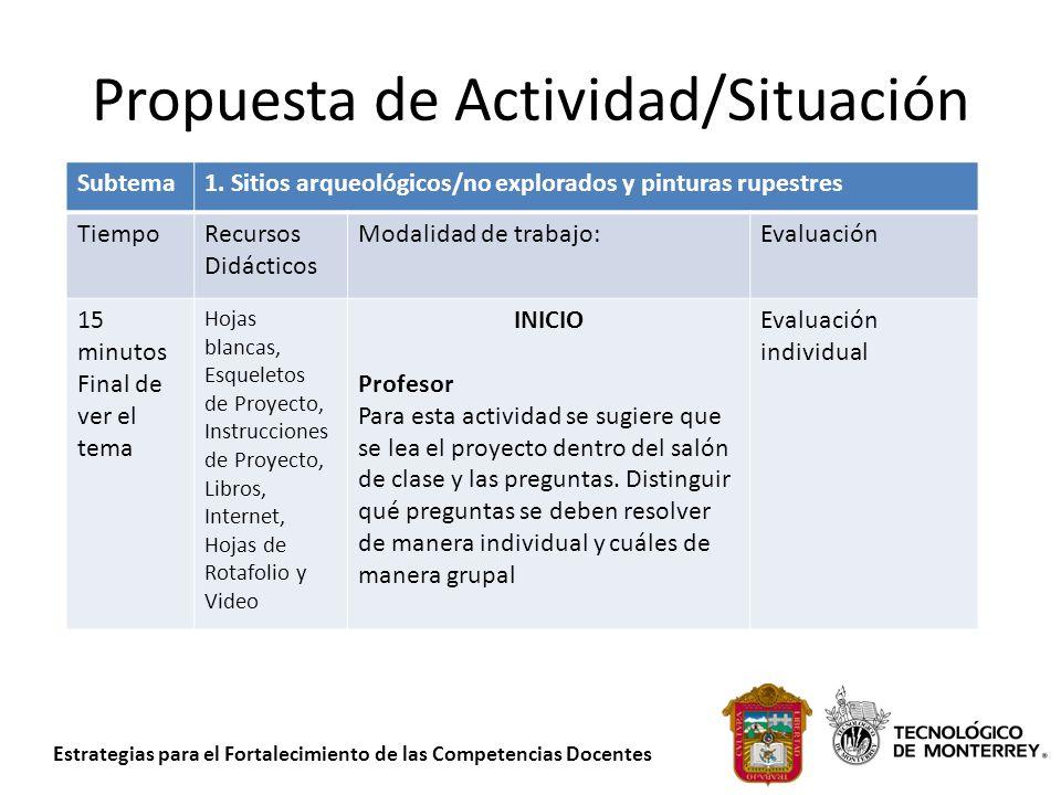 Estrategias para el Fortalecimiento de las Competencias Docentes Propuesta de Actividad/Situación Subtema1. Sitios arqueológicos/no explorados y pintu