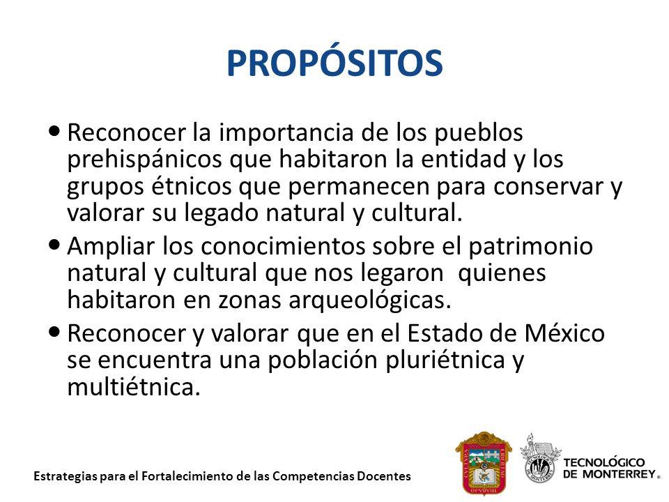 Estrategias para el Fortalecimiento de las Competencias Docentes PROPÓSITOS Reconocer la importancia de los pueblos prehispánicos que habitaron la ent