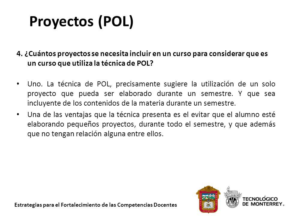 Estrategias para el Fortalecimiento de las Competencias Docentes Proyectos (POL) 4. ¿Cuántos proyectos se necesita incluir en un curso para considerar