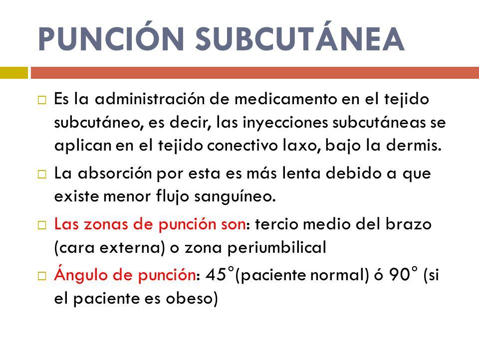 PUNCIÓN SUBCUTÁNEA Es la administración de medicamento en el tejido subcutáneo, es decir, las inyecciones subcutáneas se aplican en el tejido conectiv