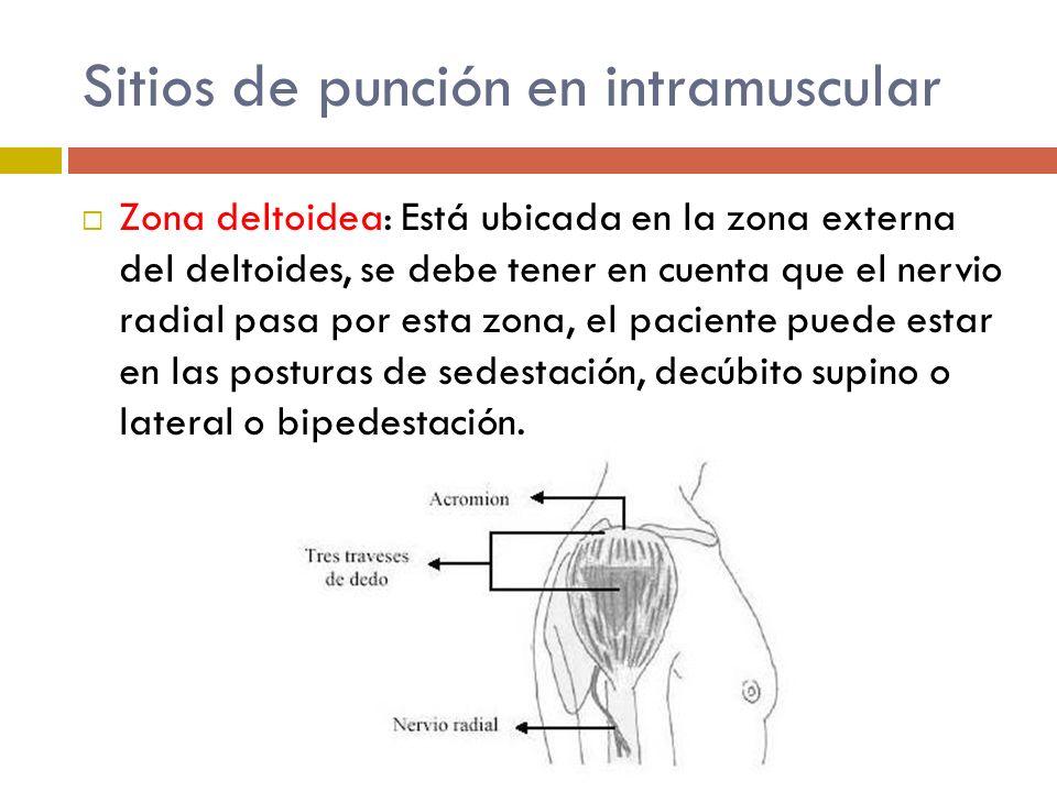 Sitios de punción en intramuscular Zona deltoidea: Está ubicada en la zona externa del deltoides, se debe tener en cuenta que el nervio radial pasa po