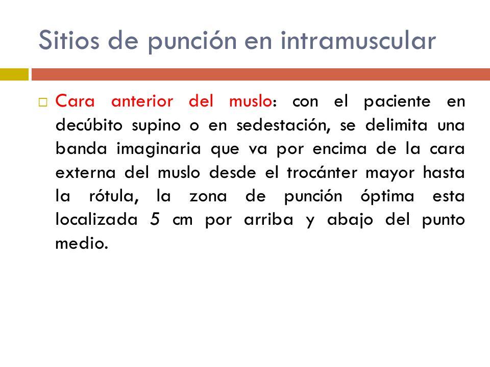 Sitios de punción en intramuscular Cara anterior del muslo: con el paciente en decúbito supino o en sedestación, se delimita una banda imaginaria que