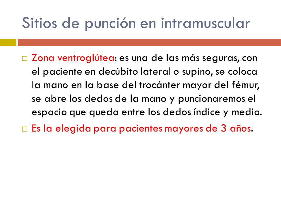 Sitios de punción en intramuscular Zona ventroglútea: es una de las más seguras, con el paciente en decúbito lateral o supino, se coloca la mano en la