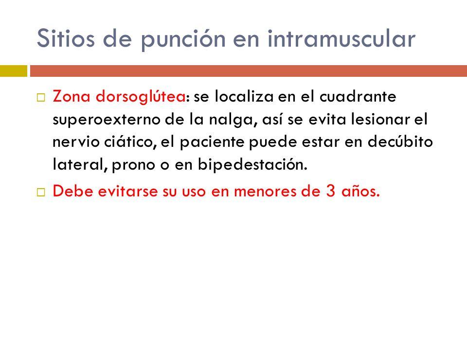 Sitios de punción en intramuscular Zona dorsoglútea: se localiza en el cuadrante superoexterno de la nalga, así se evita lesionar el nervio ciático, e