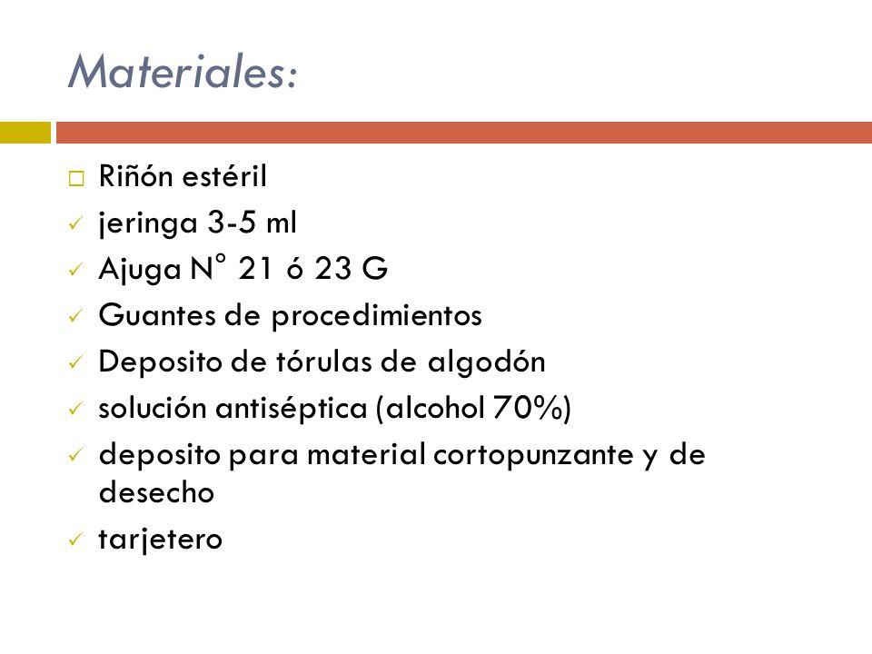 Materiales: Riñón estéril jeringa 3-5 ml Ajuga N° 21 ó 23 G Guantes de procedimientos Deposito de tórulas de algodón solución antiséptica (alcohol 70%
