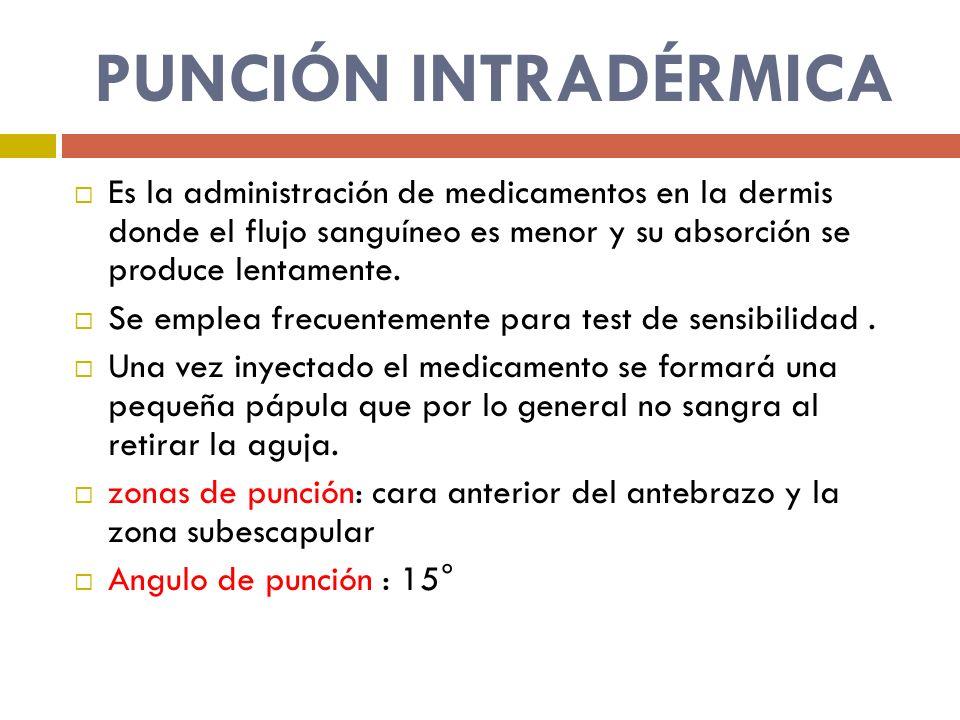 PUNCIÓN INTRADÉRMICA Es la administración de medicamentos en la dermis donde el flujo sanguíneo es menor y su absorción se produce lentamente. Se empl