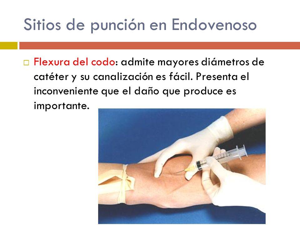 Sitios de punción en Endovenoso Flexura del codo: admite mayores diámetros de catéter y su canalización es fácil. Presenta el inconveniente que el dañ