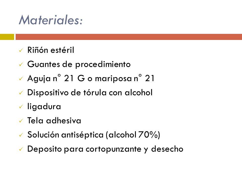 Materiales: Riñón estéril Guantes de procedimiento Aguja n° 21 G o mariposa n° 21 Dispositivo de tórula con alcohol ligadura Tela adhesiva Solución an
