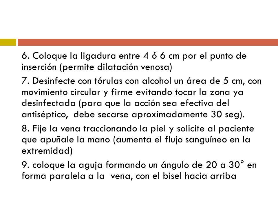 6. Coloque la ligadura entre 4 ó 6 cm por el punto de inserción (permite dilatación venosa) 7. Desinfecte con tórulas con alcohol un área de 5 cm, con