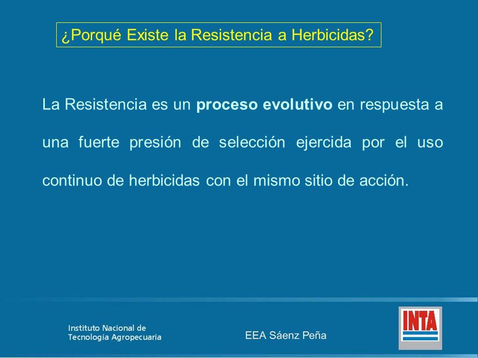 ¿Porqué Existe la Resistencia a Herbicidas? La Resistencia es un proceso evolutivo en respuesta a una fuerte presión de selección ejercida por el uso