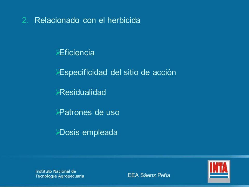 2.Relacionado con el herbicida Eficiencia Especificidad del sitio de acción Residualidad Patrones de uso Dosis empleada