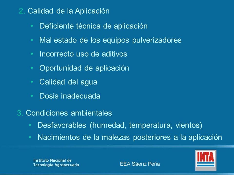 3.Condiciones ambientales Desfavorables (humedad, temperatura, vientos) Nacimientos de la malezas posteriores a la aplicación 2.Calidad de la Aplicaci