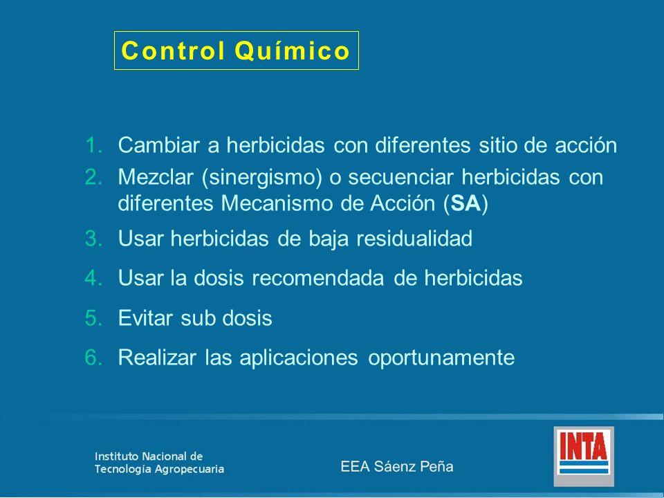 Control Químico 1.Cambiar a herbicidas con diferentes sitio de acción 2.Mezclar (sinergismo) o secuenciar herbicidas con diferentes Mecanismo de Acción (SA) 3.Usar herbicidas de baja residualidad 4.Usar la dosis recomendada de herbicidas 5.Evitar sub dosis 6.Realizar las aplicaciones oportunamente