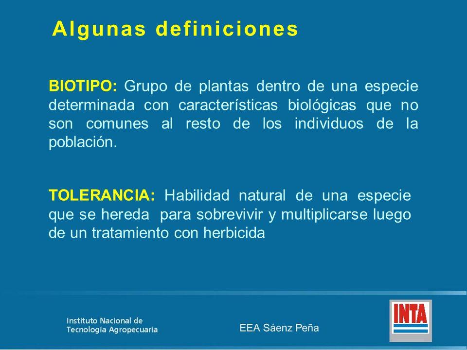 Algunas definiciones BIOTIPO: Grupo de plantas dentro de una especie determinada con características biológicas que no son comunes al resto de los ind