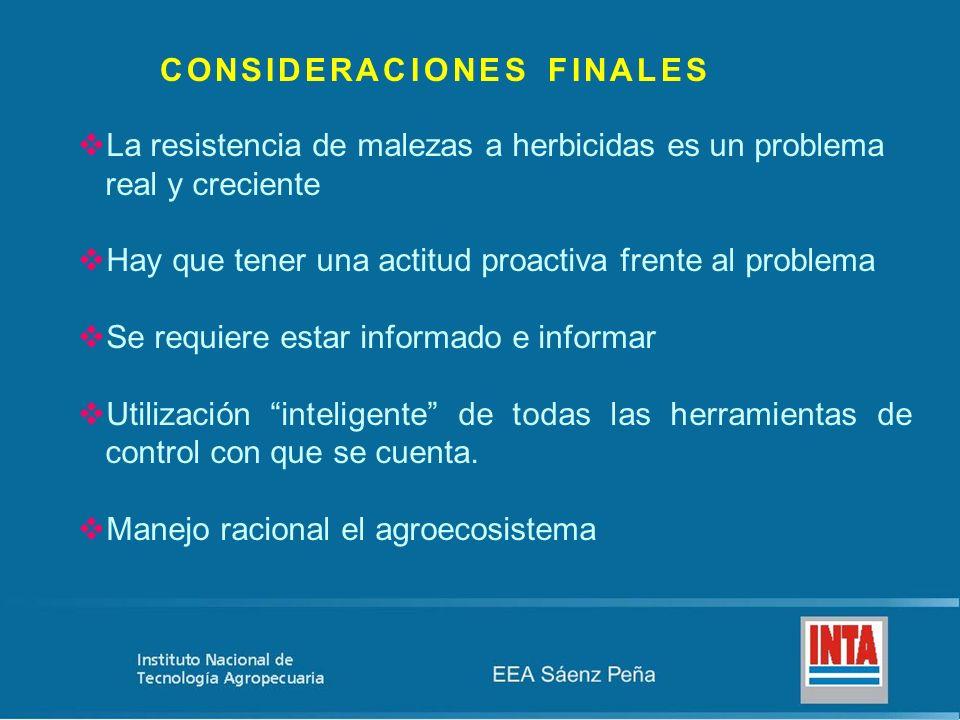 CONSIDERACIONES FINALES La resistencia de malezas a herbicidas es un problema real y creciente Hay que tener una actitud proactiva frente al problema