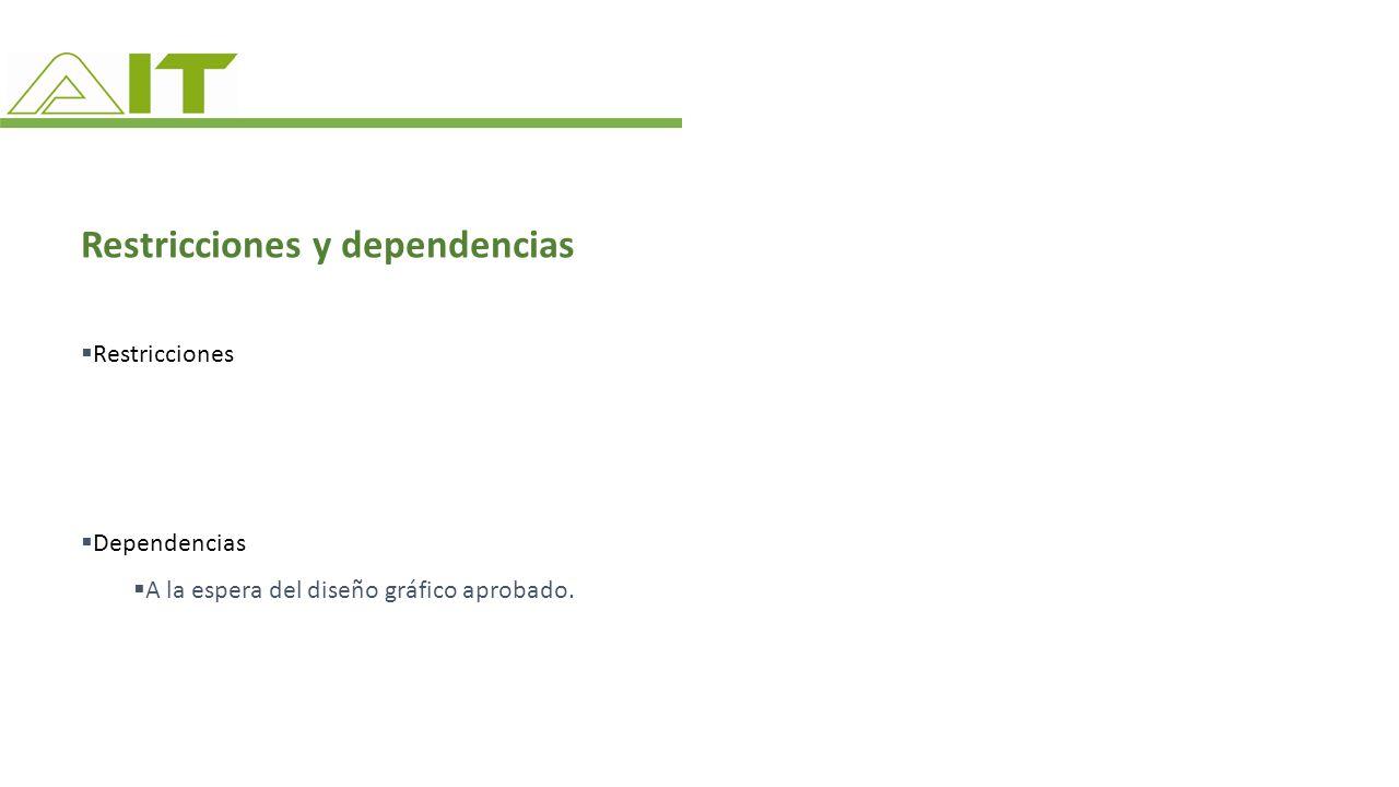 Restricciones y dependencias Restricciones Dependencias A la espera del diseño gráfico aprobado.