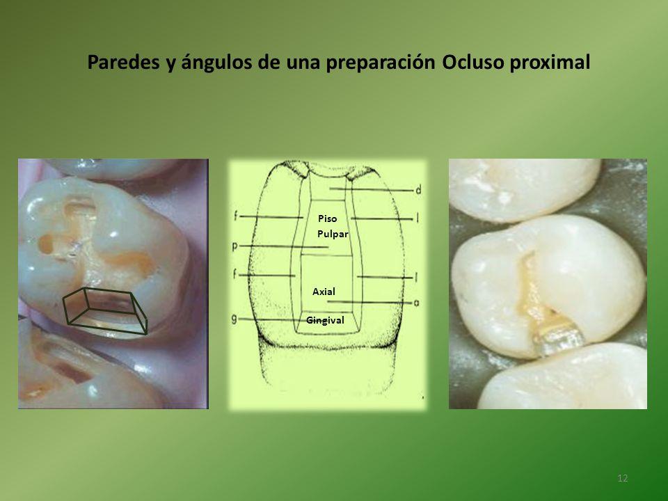 Paredes y ángulos de una preparación Ocluso proximal Piso Pulpar Axial Gingival 12